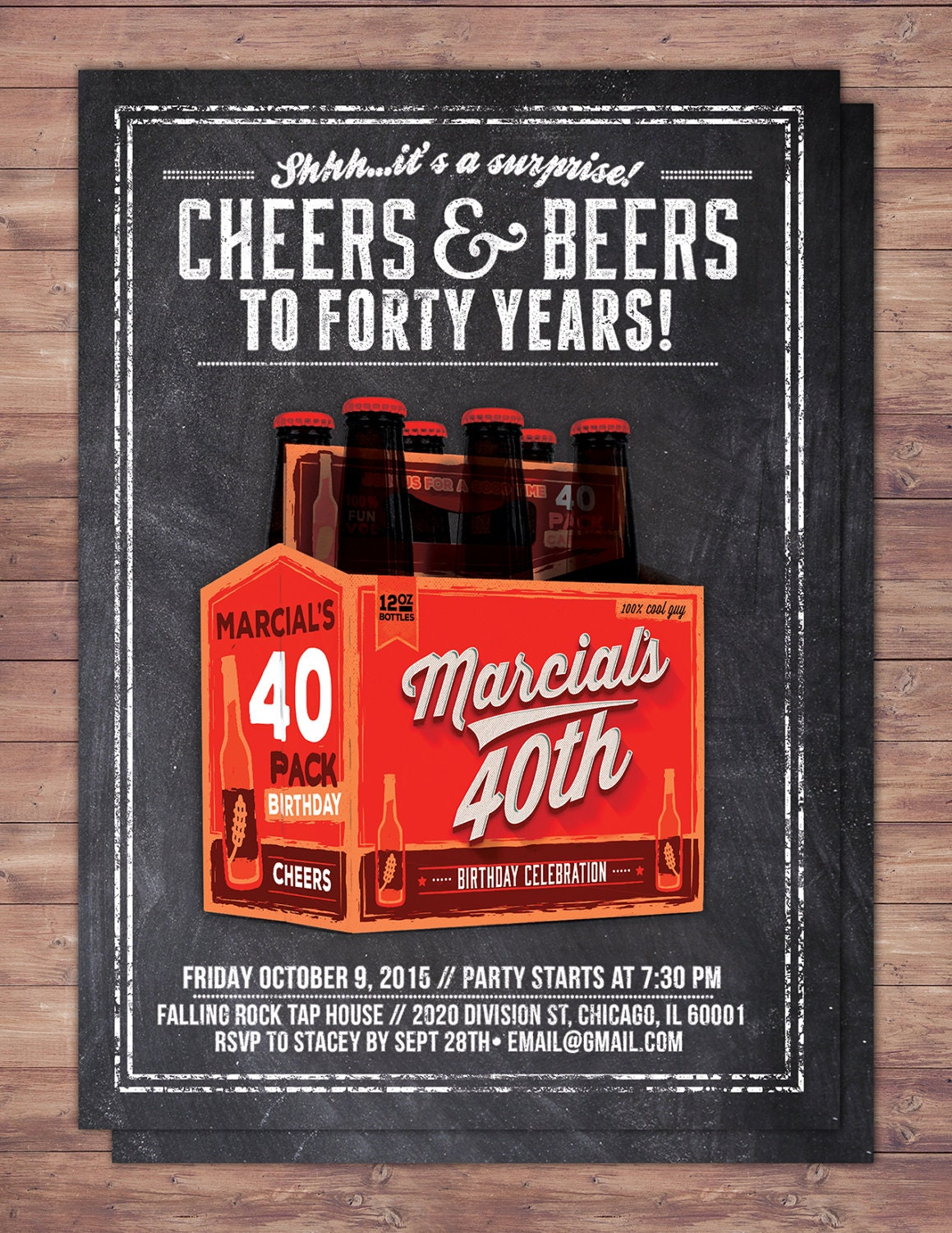 Cheers and Beers invitation, beer, 21st, 30th, 40th, 50th, 60th ...