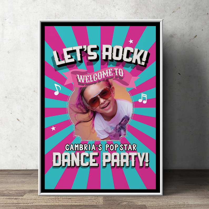 Welcome Party sign Pop Star party Rock Star party baby SAMPLE PHOTO 1