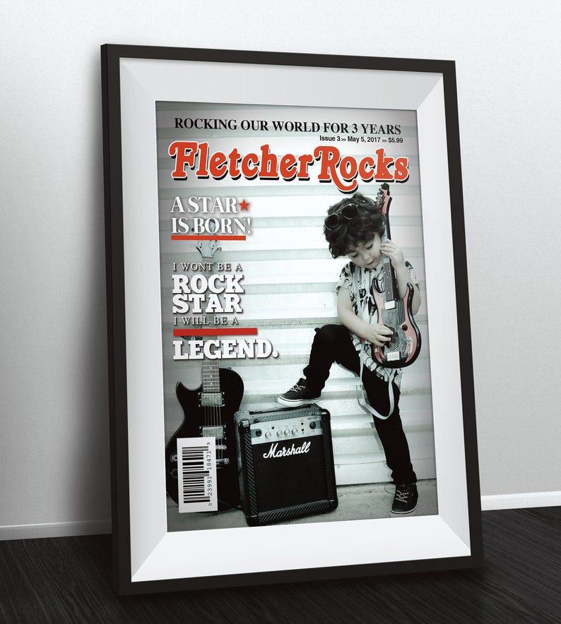 Rock Star magazine theme birthday poster boy birthday image 0
