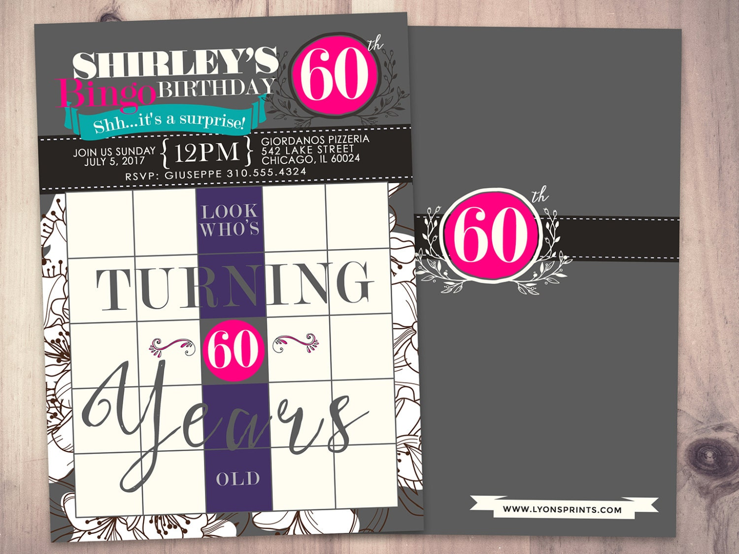 BINGO Card Birthday Invitation Surprise Party 30th 40th 50th 60th 70th Game