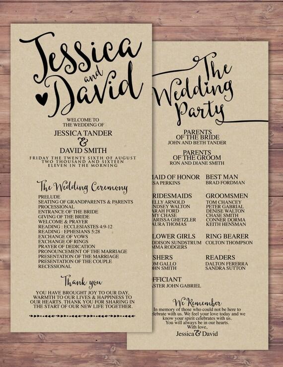 Natural Boho Printable Wedding Program Elegant Wedding Etsy