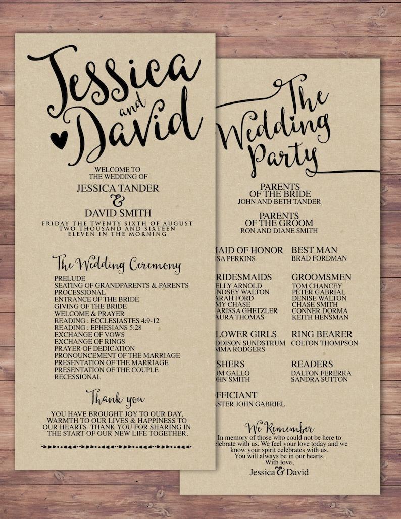 natural boho Printable Wedding Program elegant wedding SAMPLE PHOTO 1