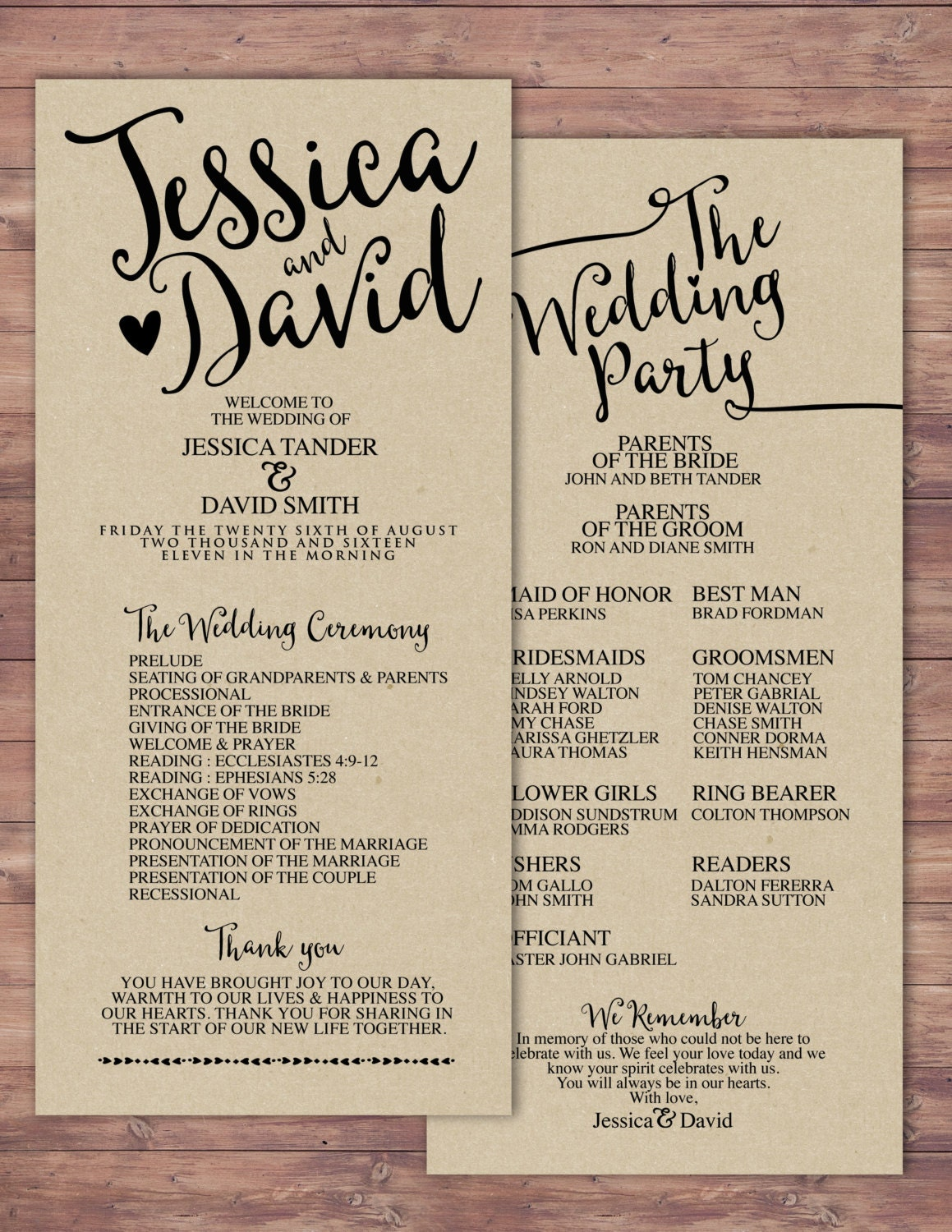 Natural, Boho, Printable Wedding Program, Elegant Wedding