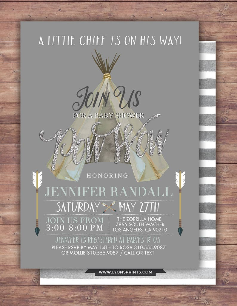 TEEPEE Baby Shower Invitation Indian Baby shower Invite image 0