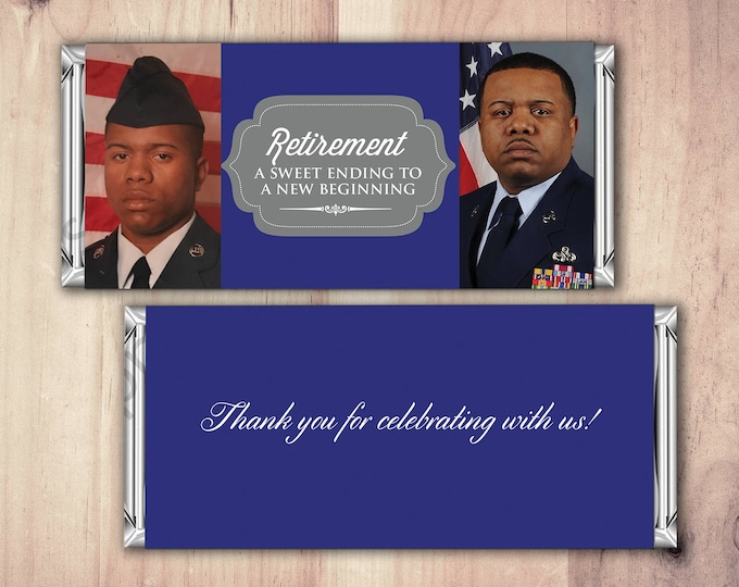Military Retirement Candy Bar Wrapper, Candy Bar, retirement party, party favor, thank you,Army, Navy, Marines, Soldier, Digital file