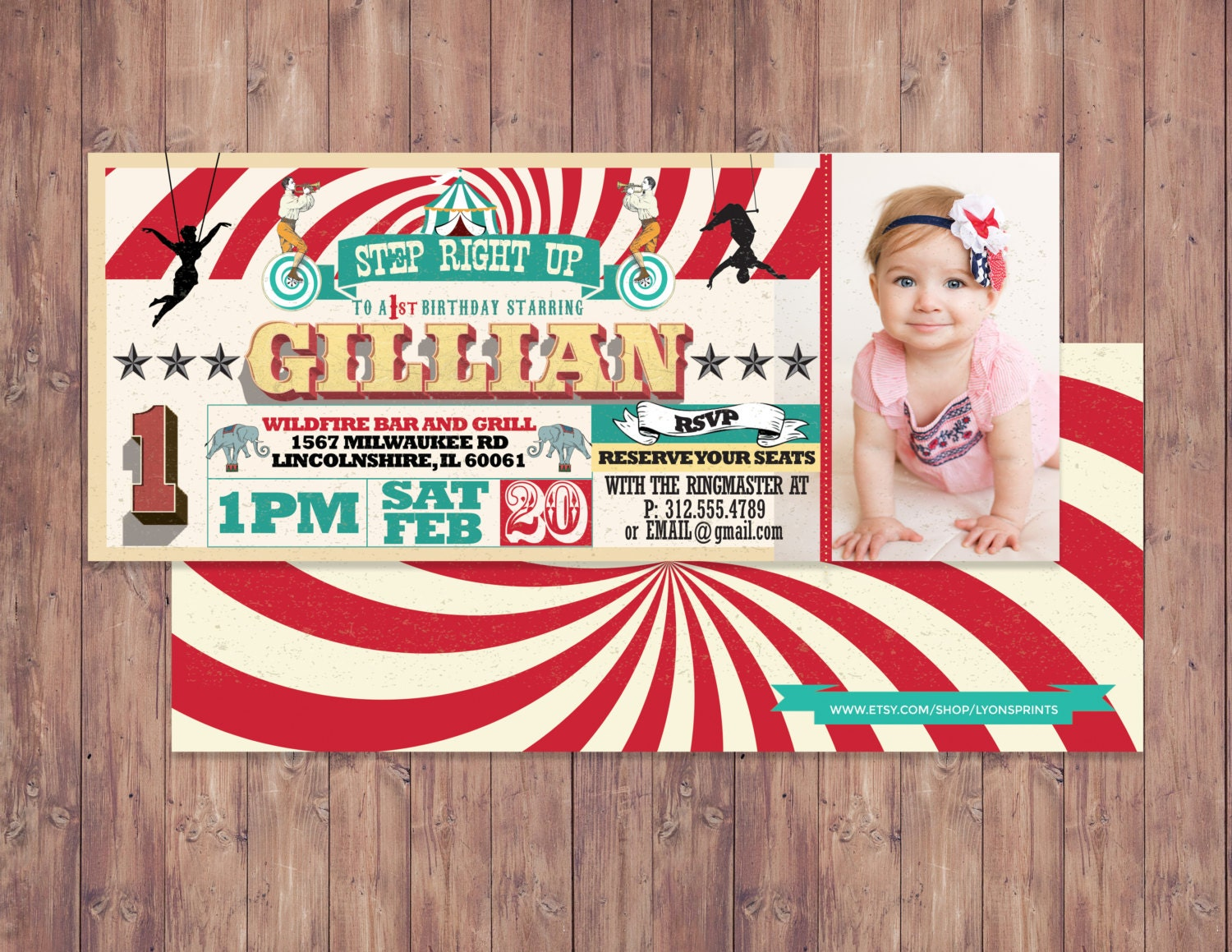 Birthday Circus Ticket Carnival Invitation Vintage