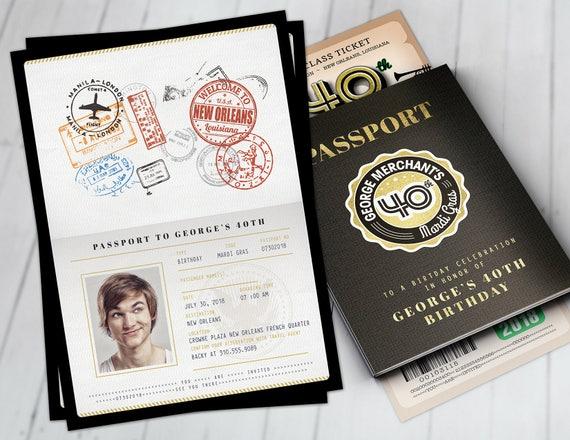 Passport New Orleans >> Passport And Ticket Birthday Invitation Travel Birthday