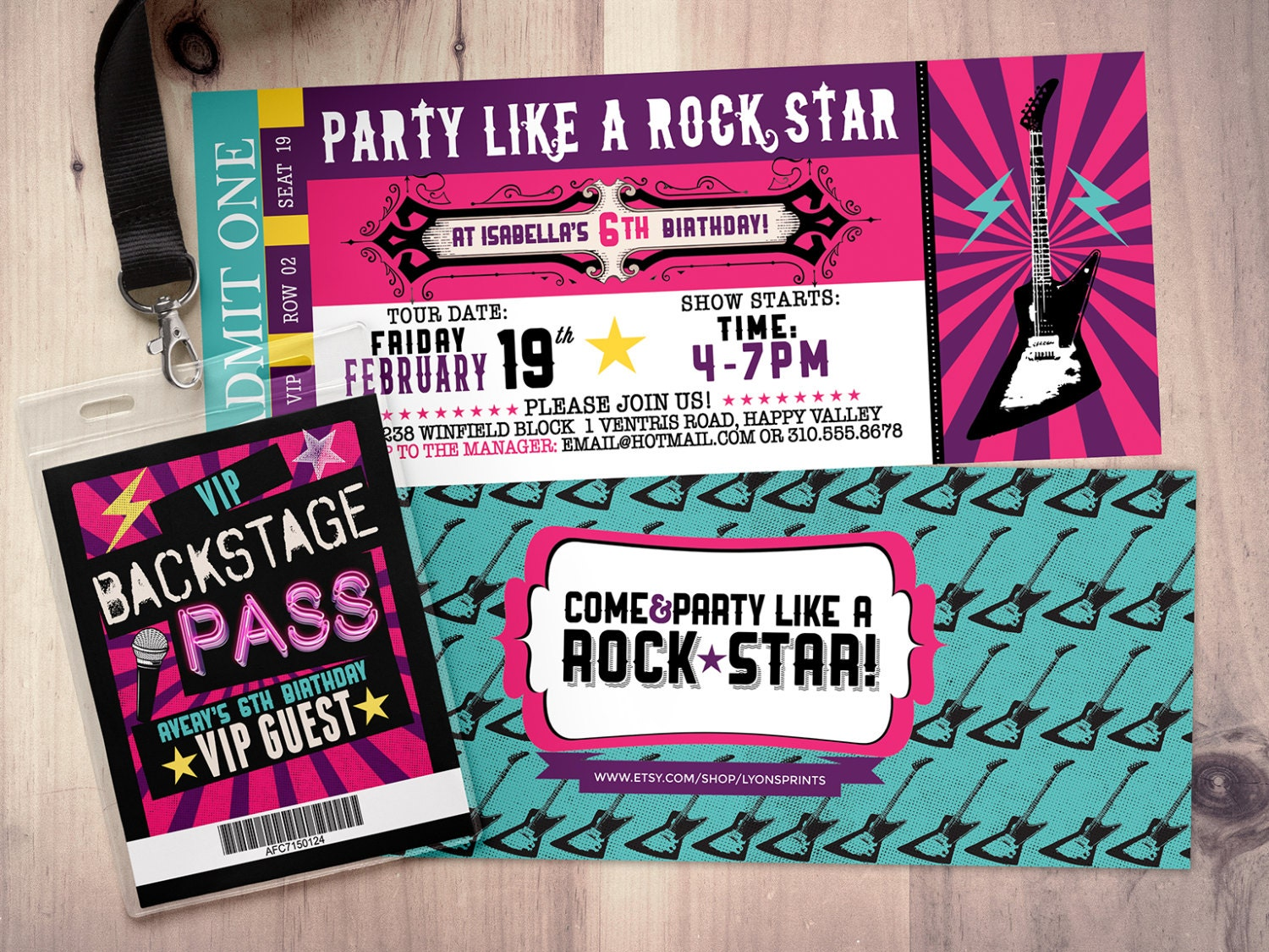rock star concert ticket birthday party invitation music invitation