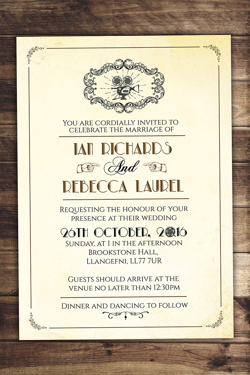 13e4bf1d19b0 Art decovintage retro save the date ticket announcement wedding jpg  834x1250 Old hollywood wedding shower invitations