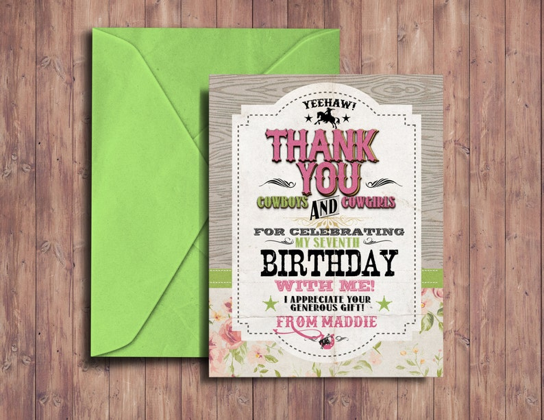 Thank you cardVintage Cowboy Invitation boy birthday image 0