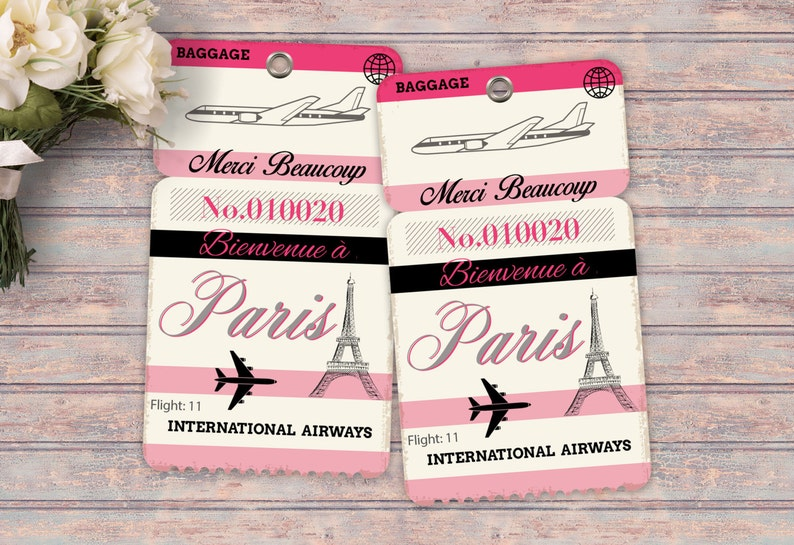 Luggage tag favor tag Thank you French Paris Girl's image 0