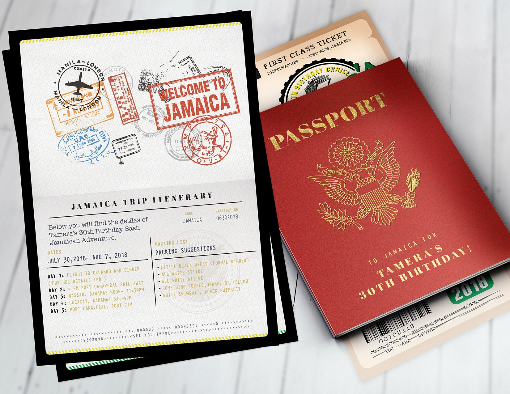 PASSPORT and TICKET birthday invitation, travel birthday party ...