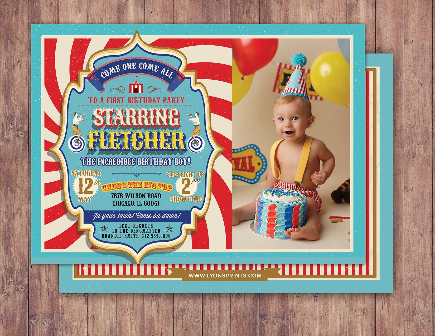 First Birthday Circus Ticket Carnival Ticket Invitation