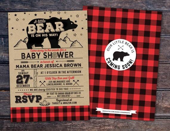 Lumberjack Baby Shower Invitation Buffalo Plaid Woodland Etsy