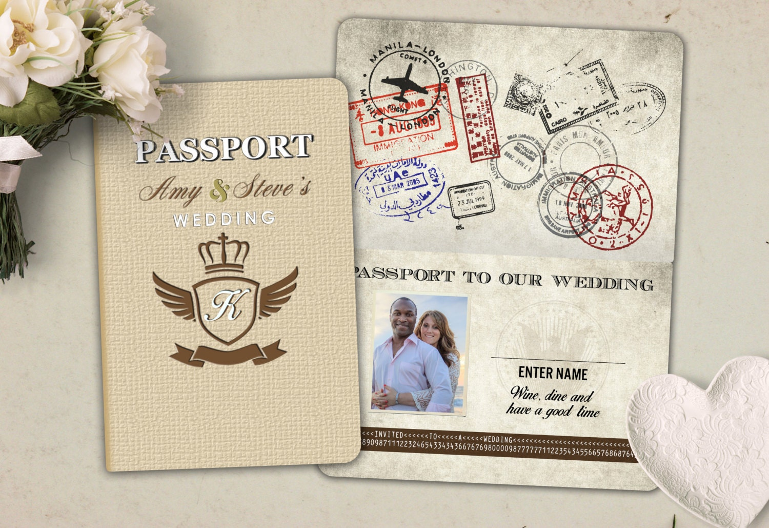 Wedding, save the date, passport, ticket, invitation, destination ...