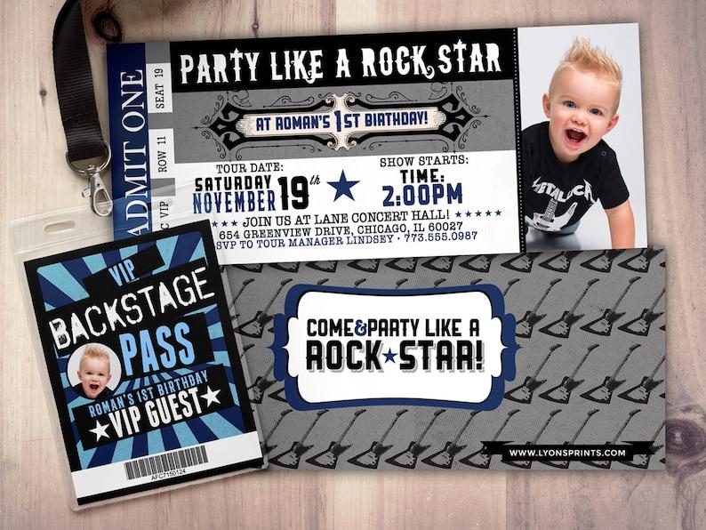 ROCK STAR concert ticket birthday party invitation Music SAMPLE PHOTO 1