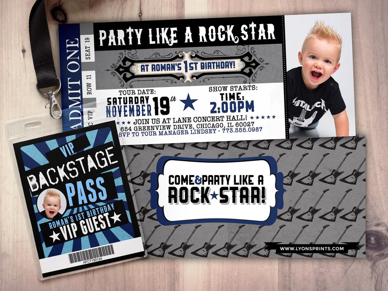 ROCK STAR Concert Ticket Birthday Party Invitation Music Photo Card Printable Rockstar Rock Star VIP Pass