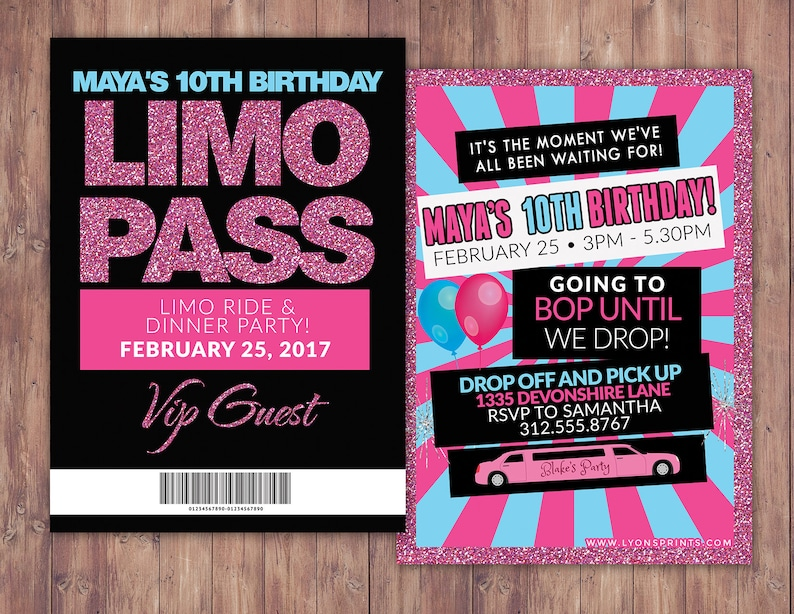VIP PASS Limo pass Birthday party 21st birthday backstage SAMPLE PHOTO 1