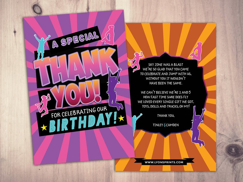 Thank you card Jump party Bounce house invitation image 0