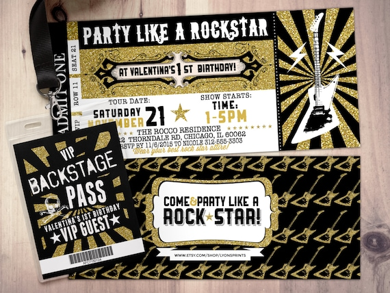 ROCK STAR concert ticket birthday party invitation Music | Etsy