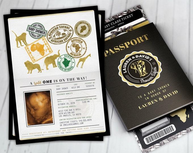 Passport invitation, Jungle Invitation, Jungle invite, Safari invitation, Safari Invite, Baby shower, Wild One, Elephant, Lion,