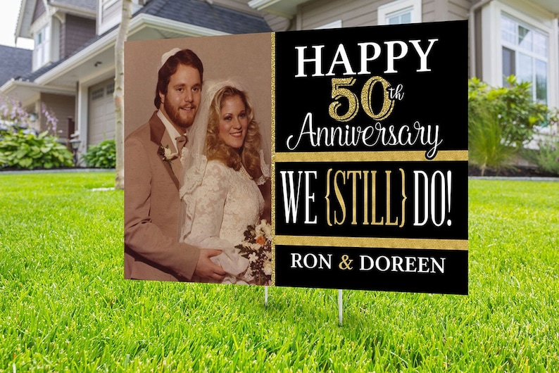 Anniversary Yard Sign design Digital file only Honk outdoor BLACK-GOLD-PHOTO