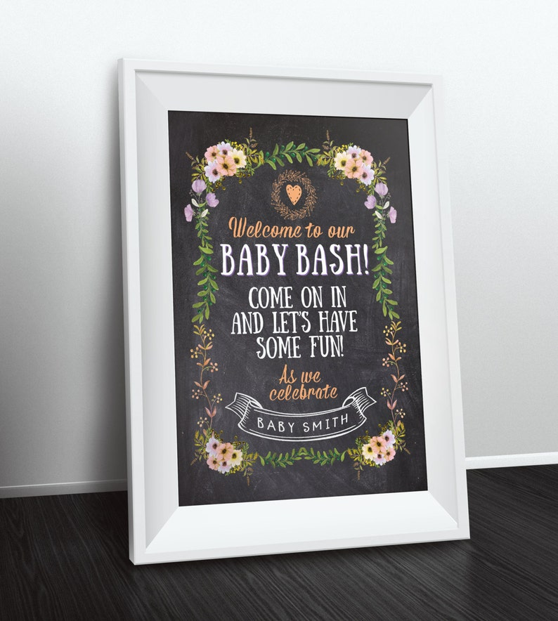 Welcome sign Floral rustic BOHO BabyQ chalkboard couples image 0