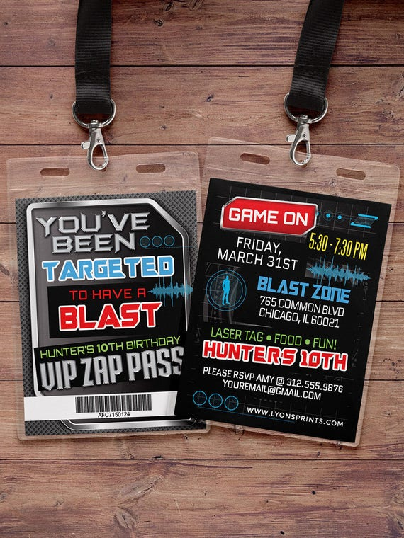 Laser Tag Invitation Vip Pass Birthday Invitations For Laser Tag