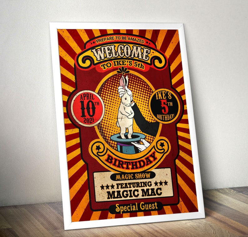 Magic Party Invitation Magic Birthday Invitation Magician RED/ORANGE-GRAPHIC