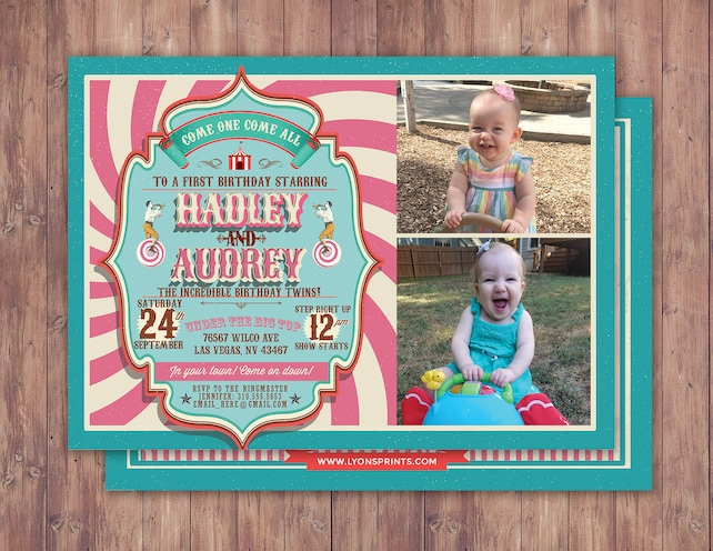 First Birthday Circus Ticket Carnival Invitation