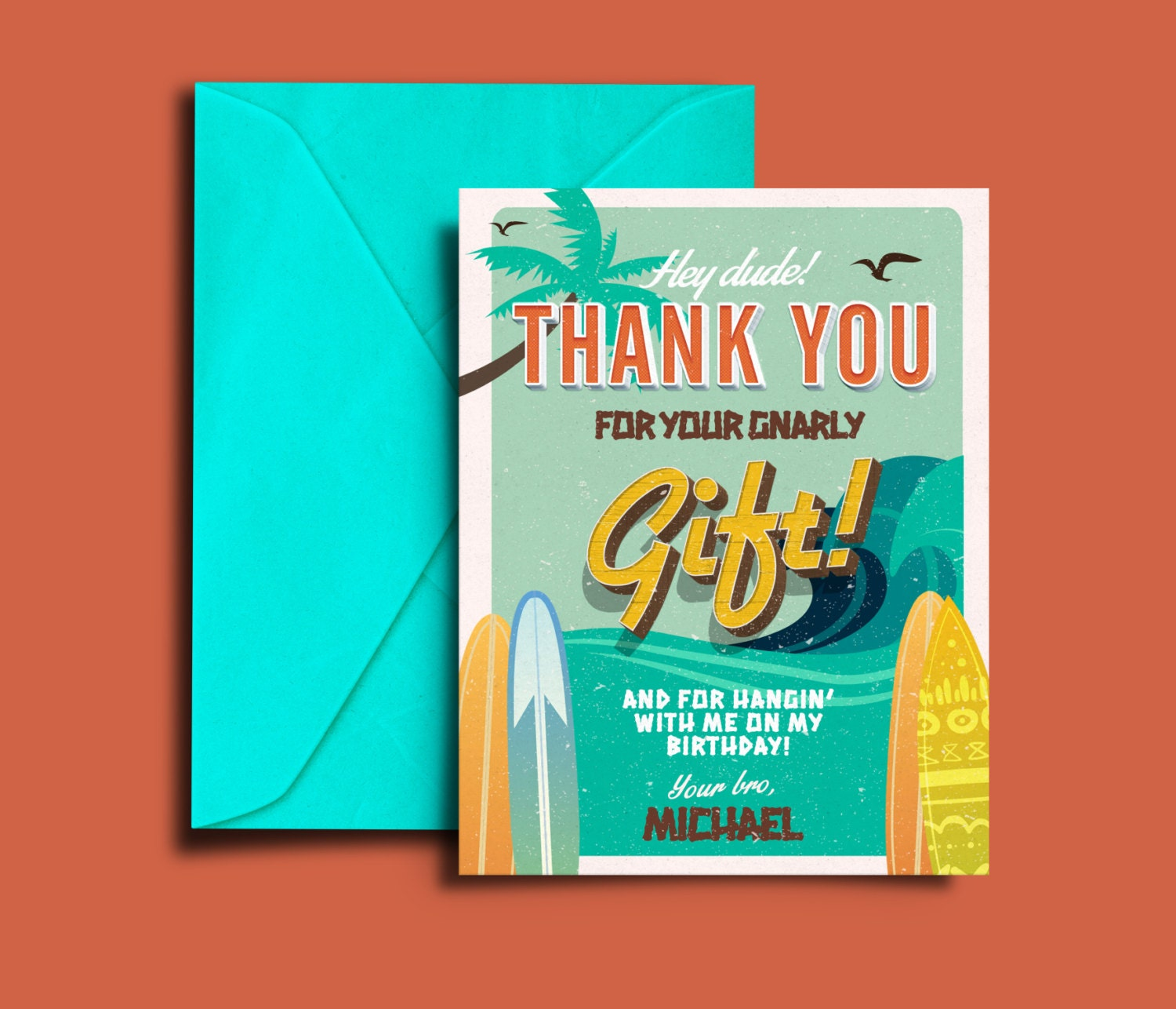 Thank You Card Pool Party Invitation Surfer Birthday