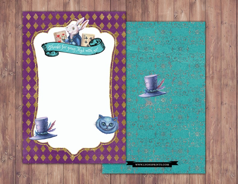 Thank you card / Mad Hatter Tea Party Alice in Wonderland image 0