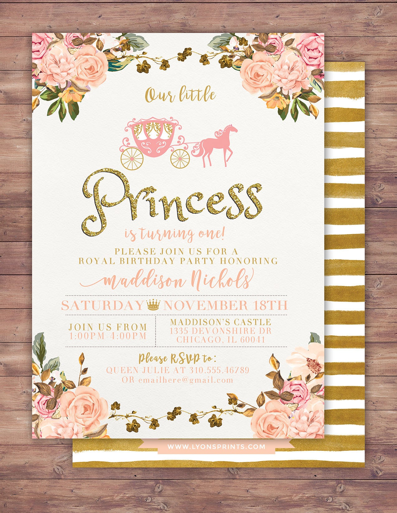 Pink Gold Glitter Princess Birthday Invite Carriage Invitation Gallery Photo