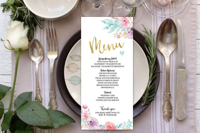 wedding menuFloral boho Printable Wedding Program elegant image 0
