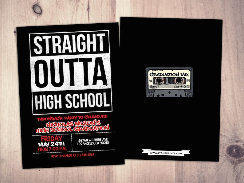 Straight outta graduation party Hip Hop 90s party birthday image 0
