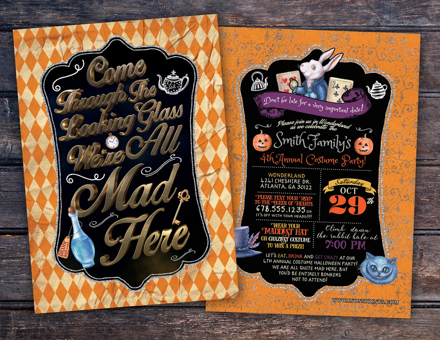 Halloween party mad hatter tea party alice in wonderland halloween party mad hatter tea party alice in wonderland invitation birthday invitation costume party invitation invite kids party stopboris Choice Image