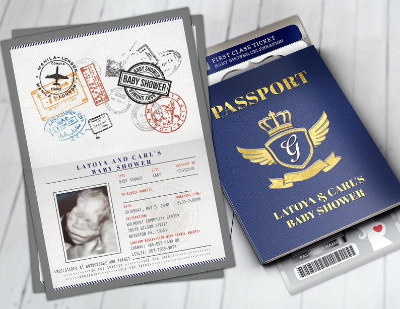 baby shower,Digital files only PASSPORT and TICKET baby shower invitation Coed baby shower invitation travel baby shower invitation