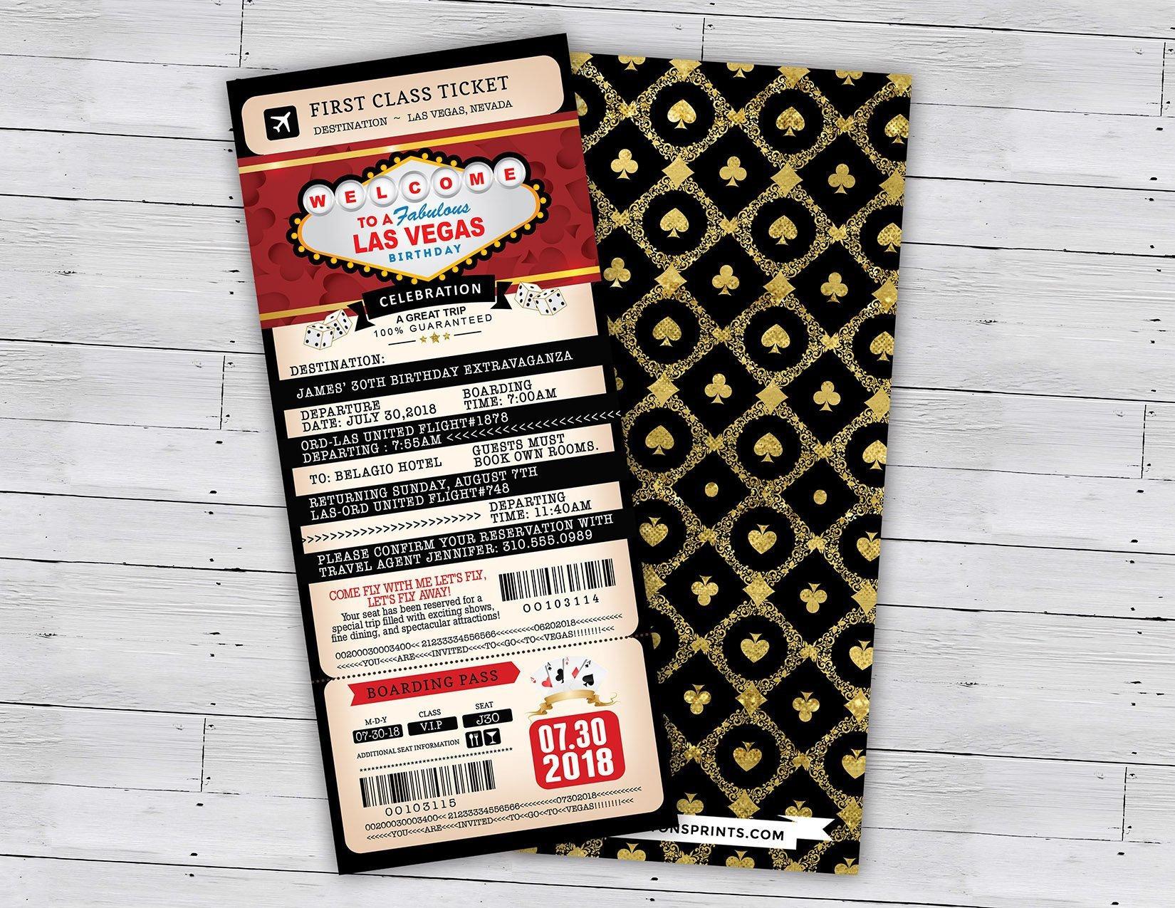 Las Vegas birthday party, PASSPORT and TICKET birthday invitation, travel  birthday party invitation, Vegas, Casino, Digital files only