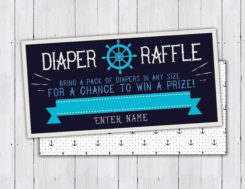 Baby Shower Diaper Raffle Ticket Nautical boy shower baby image 0