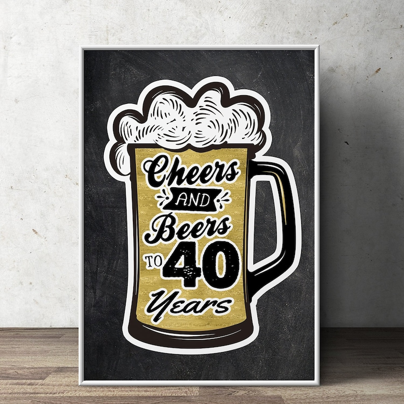 40th birthday party decoration  Digital file only  birthday image 0