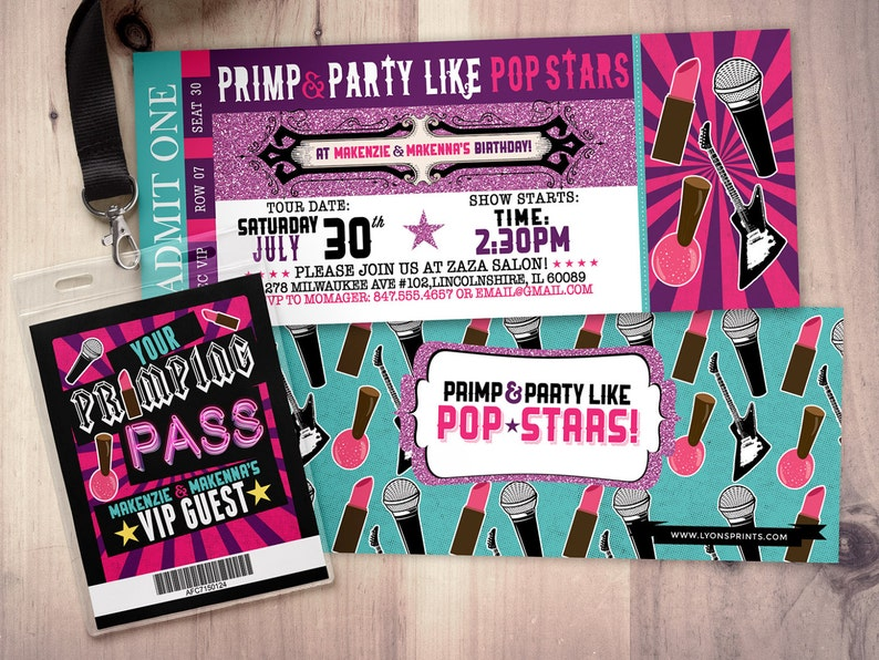 Spa party Pop star Rock Star concert ticket birthday party SAMPLE PHOTO 1