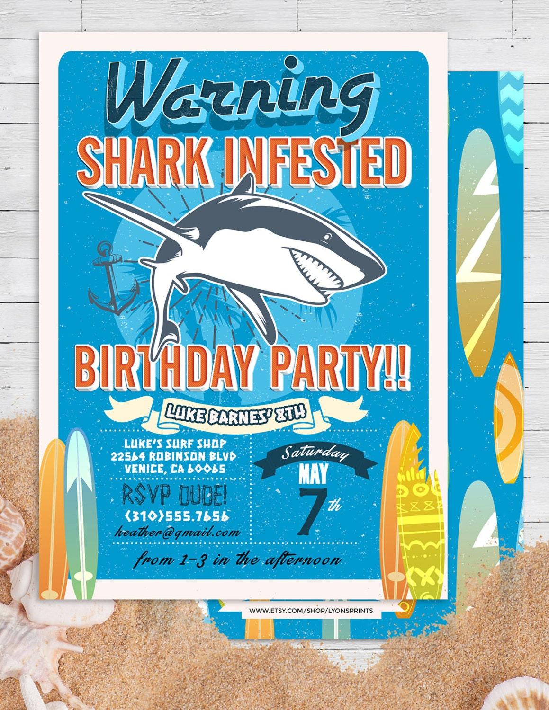 Shark invitation pool party invitation surfer birthday birthday shark invitation pool party invitation surfer birthday birthday invitation invite vintage surfer girl birthday pool party swimming filmwisefo