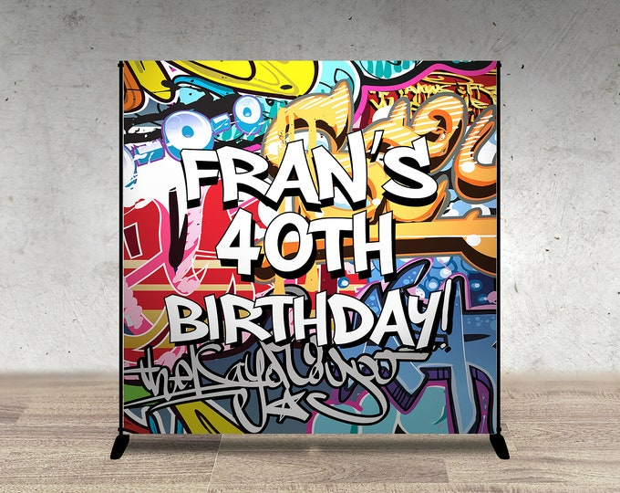 Digital file only, Backdrop, Baby Shower, Throwback party, Hip Hop, 90s, Push it shower, Graffiti banner, 90s party, hip hop theme,