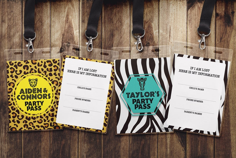 VIP PASS  ZOO birthday identification card Party favor image 1