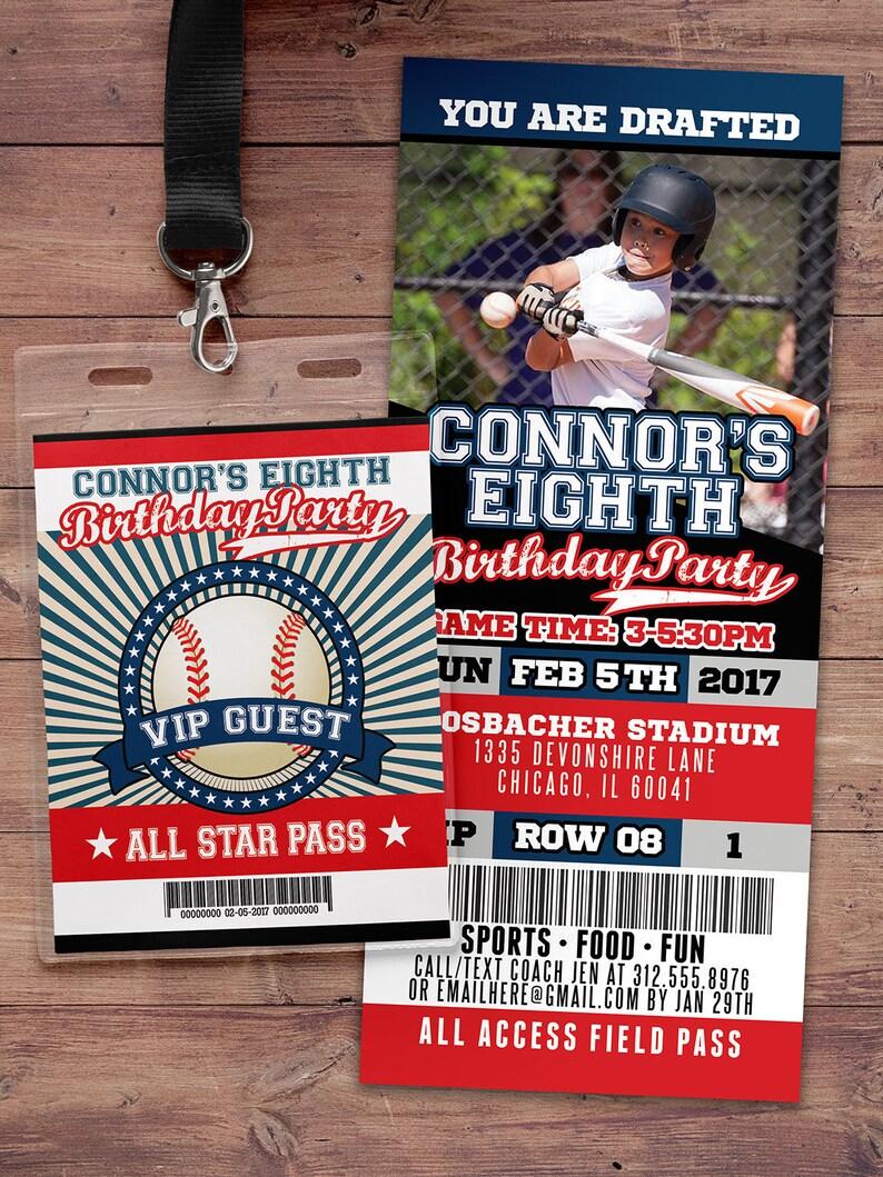 Baseball ticket Invitation All Star Birthday VIP pass image 0
