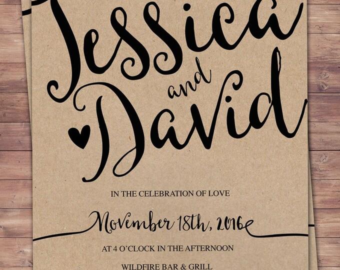 Wedding Invitation Printable, Kraft,Wedding Invitation Suite, RSVP, monogram, info card, hand lettered typography theme.
