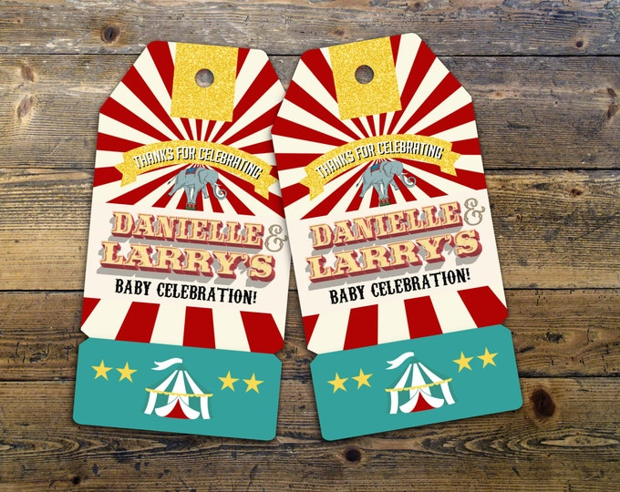 Carnival Thank You Tags for Carnival Birthday or shower. DIY Circus Party Printables! Personalized Circus Favor Tags for Circus baby shower