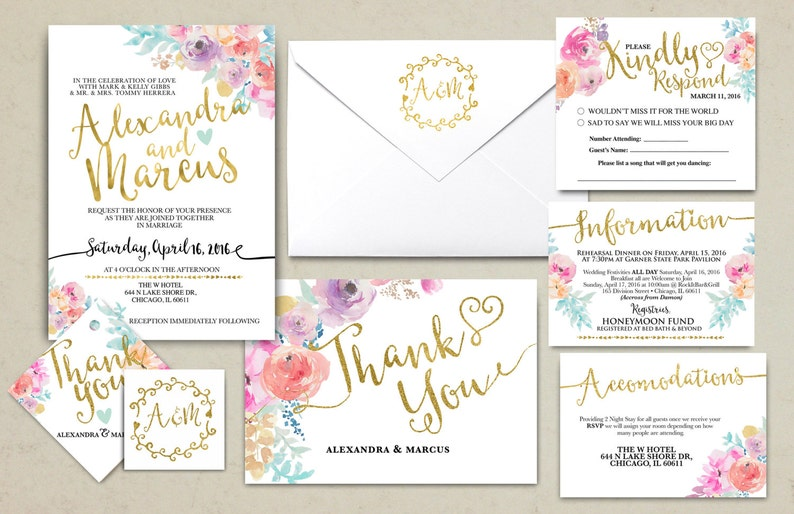 Floral rustic BOHO Wedding Invitation Printable image 0