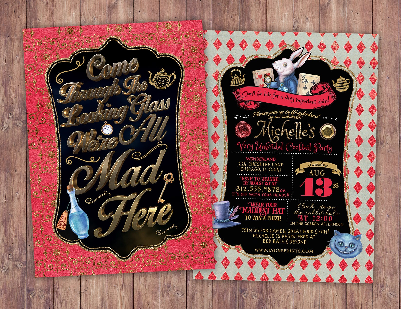 Bridal shower, Mad Hatter Tea Party, Alice in Wonderland Invitation ...