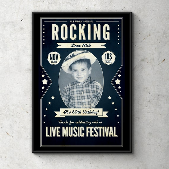 rock star poster sign rock star invitation concert ticket